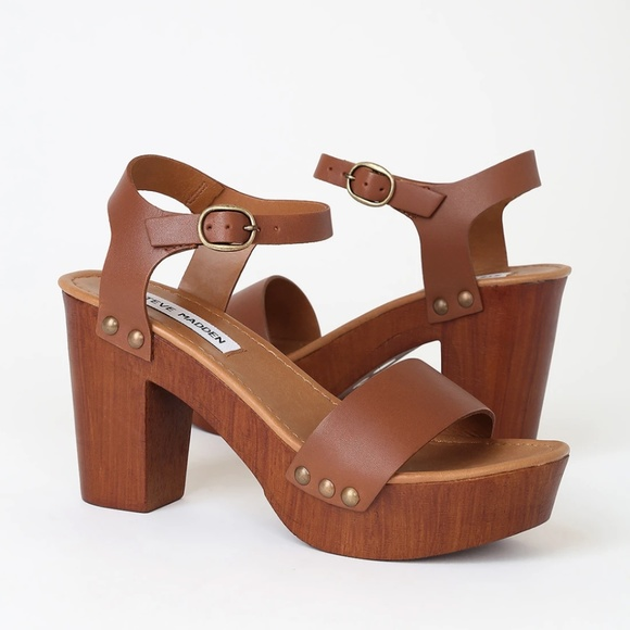 Cercanamente Creación Restricción  Steve Madden Shoes | Steve Madden Luna Tan Leather Wooden Platform Heel |  Poshmark